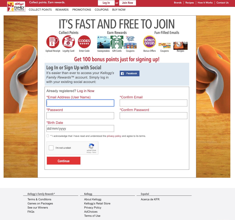 Registration Kellogg's Family Rewards®