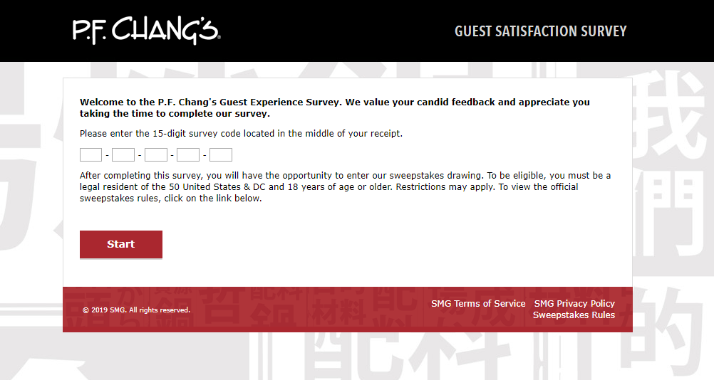 P F Chang s Customer Experience Survey Welcome