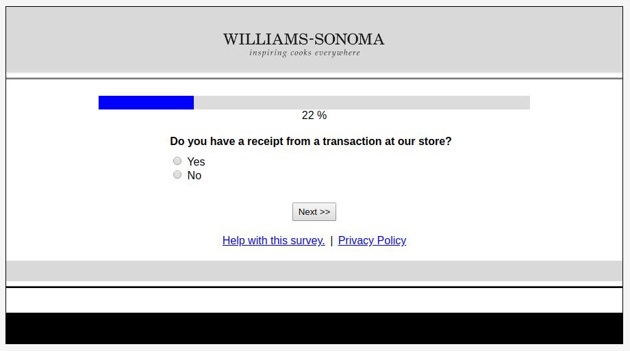 Williams-Sonoma Web Survey