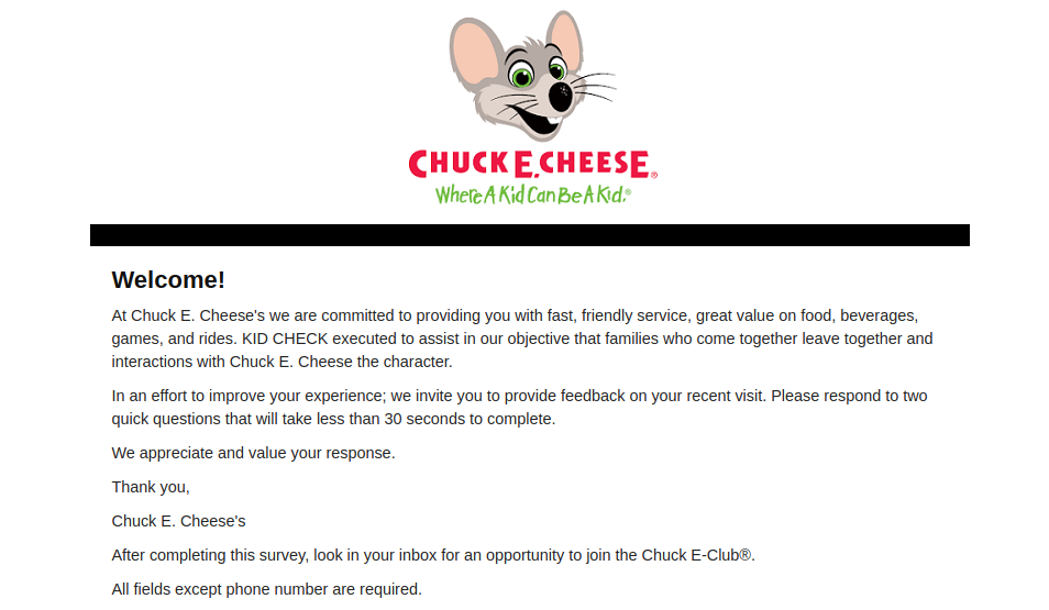 Chuck E Cheeses Survey Logo