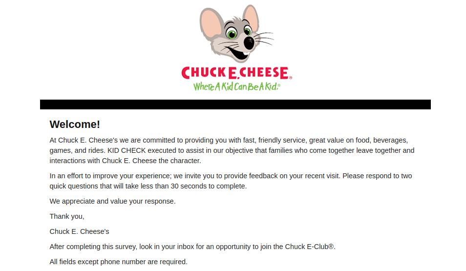 Chuck E Cheeses Survey Logo