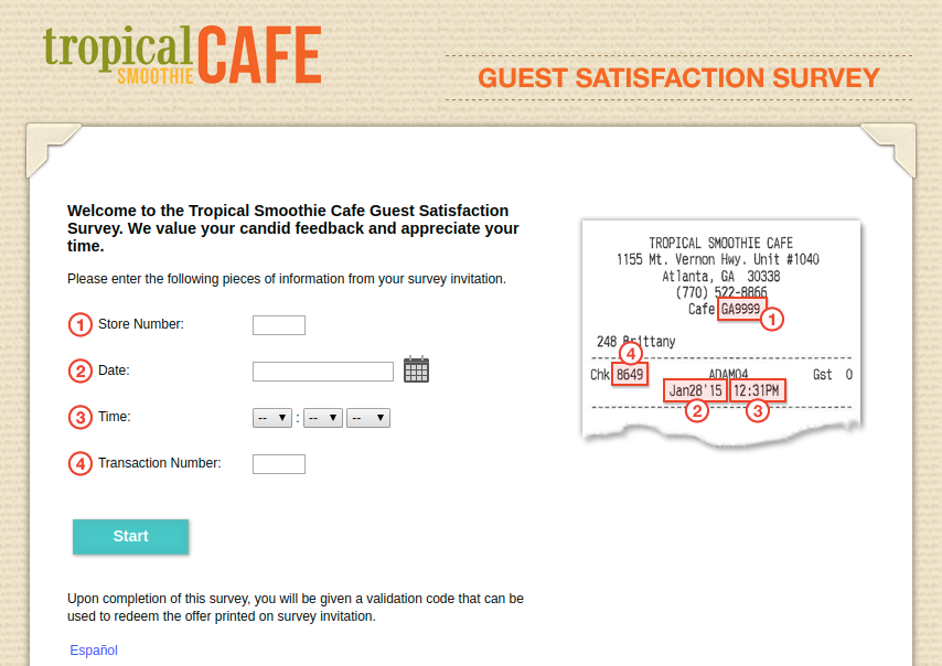 Tropical Smoothie Guest Satisfaction Survey
