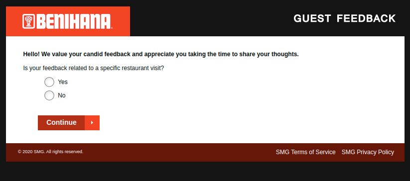 Benihana Guest Feedback Survey