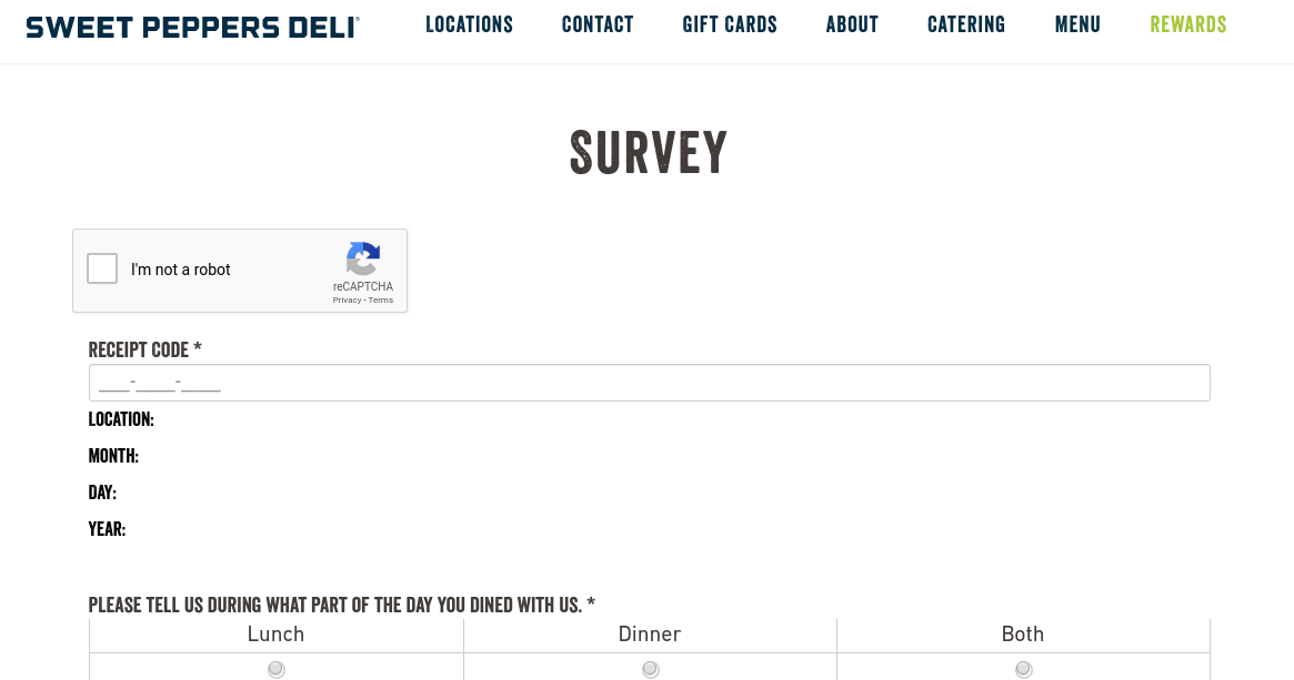 Sweet Peppers Deli Survey