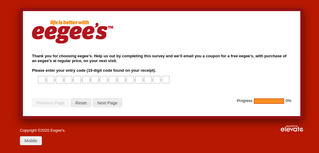 Eegee's Customer Satisfaction Survey