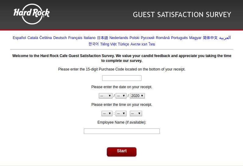 Hard Rock Cafe Survey