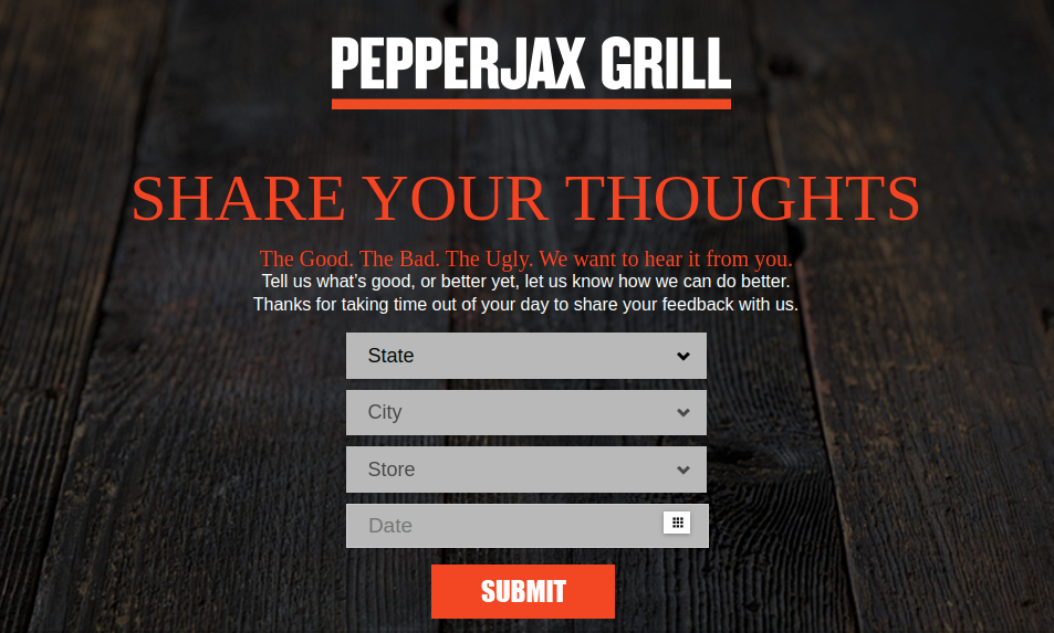 PepperJax Grill Survey Logo
