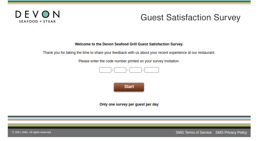 Devon Seafood Grill Guest Survey