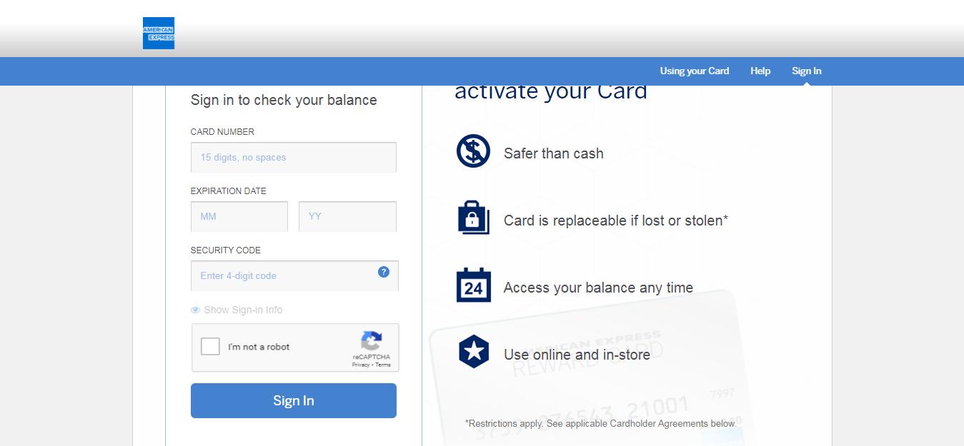 American Express Reward Card Login