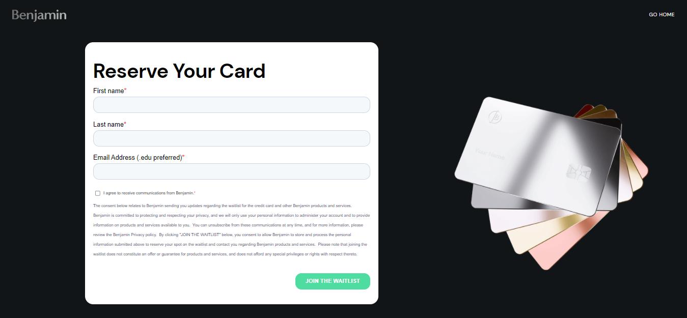 Benjamin Card Apply