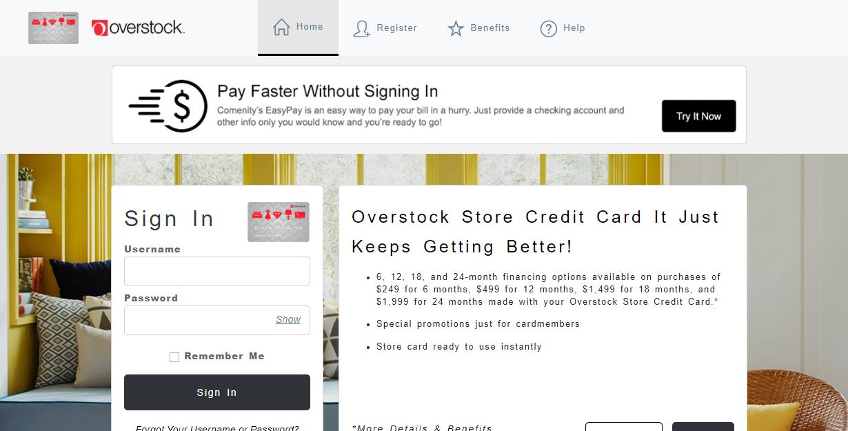 overstock store card login